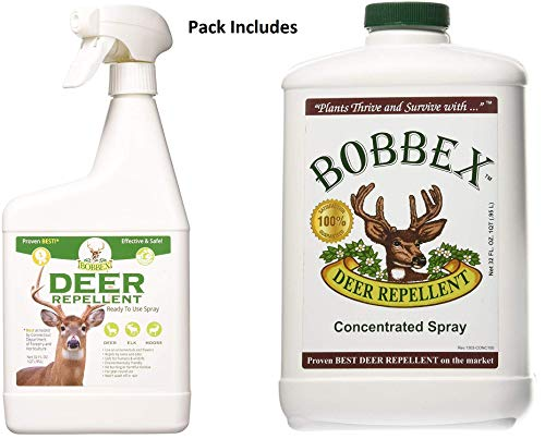 Bobbex Deer Repellent Pack - 32 Ounce Ready to use Bottle Plus 32 Ounce Concentrate -