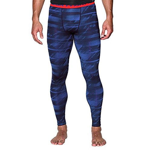 Under Armour Men's HeatGear Armour Printed Compression Leggings, Academy (408)/Bolt Orange, Small by Under Armour (Image #1)