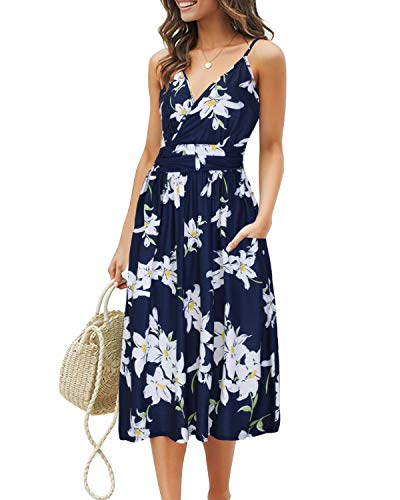 OUGES Women's Summer Spaghetti Strap V-Neck Floral Short Party Dress with -
