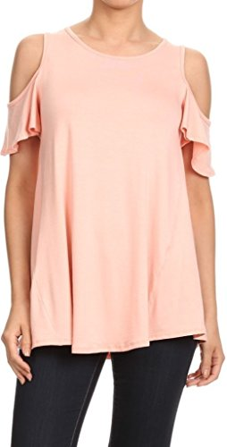 Women Rounded Neck Cold Shoulder Top Peach XL - V-neck Peaches Tunic Uniforms