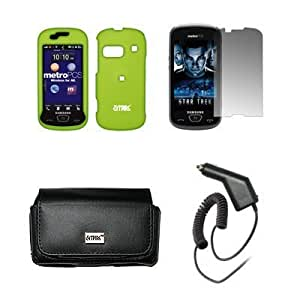 Bloutina EMPIRE Black Leather Case Pouch with Belt Clip and Belt Loops + Neon Green Rubberized Snap-On Cover Case + Screen...