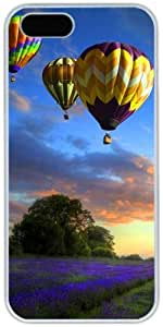 iPhone 4 4S Cases Hard Shell White Cover Skin Cases, iPhone 4 4S Case Rainbow Colored Air Balloons