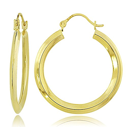 Gold 2 Mm Knife - Bria Lou 14k Yellow Gold 2mm Knife Edge Round Hoop Earrings, 25mm