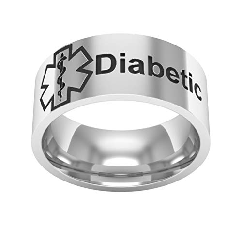 GUSTA 8mm Star Life Ring First Aid Sign Ring Beveled Edges Stainless Steel Band Diabetic Men Women 6-13