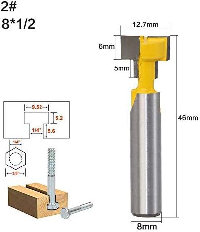 NO LOGO ZZB-ZT, 2pcs / Set 8mm Schaft T-Slot Keyhole Cutter Holzfräser Hartmetallfräser for Holz Hex-Bolzen-T-Track Stoßen Fräser (Size : 2PCS)