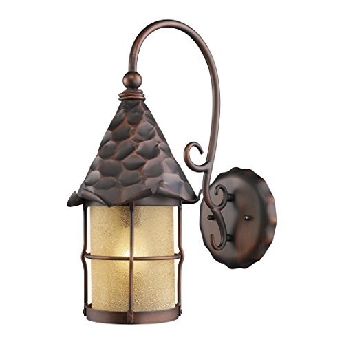 Landmark 385-AC Rustica 1-Light Outdoor Sconce, 19-Inch, Antique Copper with Scavo Glass by Landmark