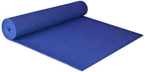 YogaAccessories Extra Wide 1/4'' Deluxe Yoga Mat - Blue