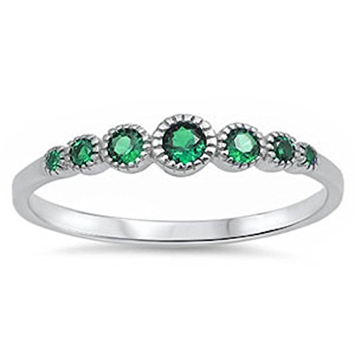 - .925 Sterling Silver Seven Round Simulated Diamond & Gemstone AAA CZ Band Ring Size 4-10 COLORS AVAILABLE