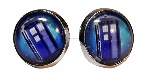 [Doctor Who TARDIS Police Box Silvertone/Glass Post EARRINGS] (Dr Who Police Box Costume)