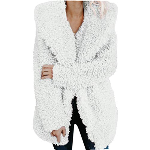 - iQKA Women Winter Warm Coat Fuzzy Faux Fur Shearling Lapel Collar Jacket Outerwear (Small, Hood-White)