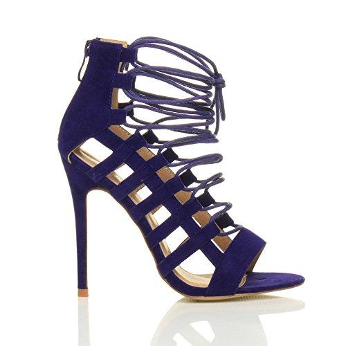 Sandalen Kobaltblau High Reißverschluss Riemchen Größe Ghillie Schnürung Heel Damen Damen Wildleder Schuhe Ajvani P4qnwa8Ow