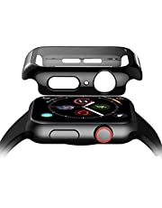 Black 360 Degree Full Cover Curved Edge Frame Screen Protector For Apple Watch 44 mm