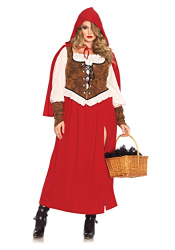Renaissance Halloween Costumes (Leg Avenue Women's Plus-Size Woodland Red Riding Hood Costume, Red, 3X)