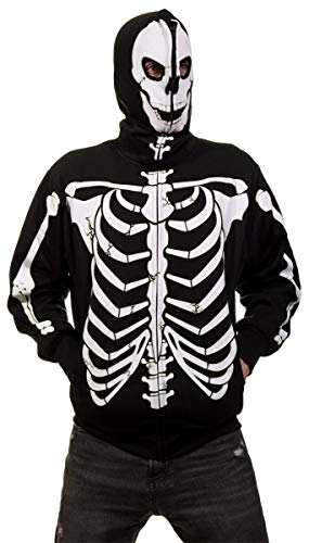 Hoodies Zip Over Face - Men's Glow in The Dark Skeleton Costume Zip Hoodie (Black, X-Large)