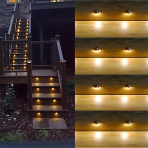 FVTLED Pack of 20 Warm White Low Voltage LED Deck lights kit Φ1.38'' Outdoor Garden Yard Decoration Lamp Recessed Landscape Pathway Step Stair Warm White LED Lighting, Black by FVTLED (Image #4)