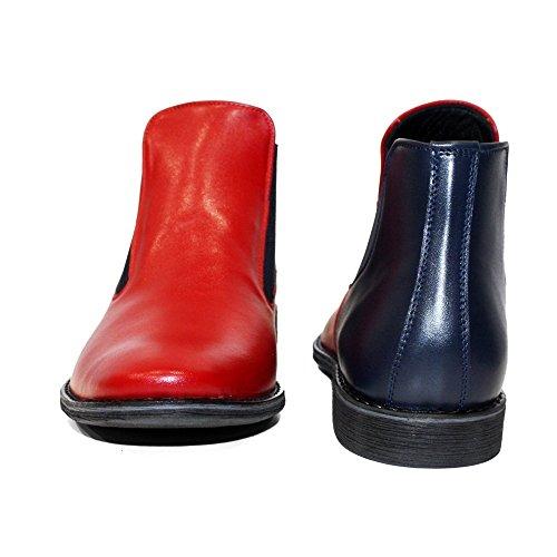 Uomo Rosso Handmade Lava Stivali Modello Morbido Vacchetta di Chelsea su Italiano Pelle da Scivolare in Pelle IUTqS