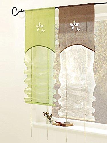 Bändchenrollo, mit Tunneldurchzug, Farbe Grün, Design Blume, Blende, Halbtransparent, Waschbar, Maße HxB 140x118 cm