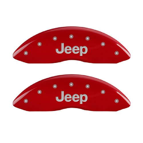 MGP Caliper Covers 42006SJEPRD 'JEEP' Engraved Caliper Cover with Red Powder Coat Finish and Silver Characters, (Set of 4) by MGP Caliper Covers (Image #7)