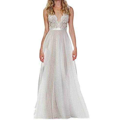 Chen Women Sexy Deep V-Neck sleeveless Lace Evening Dress Wedding Prom See-through Maxi Dress (12-14)