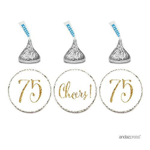 Andaz Press Gold Glitter Print Chocolate Drop Labels Stickers, Cheers 75, Happy 75th Birthday, Anniversary, Reunion, White, 216-Pack, Not Real Glitter, for Hershey's Kisses Party Favors