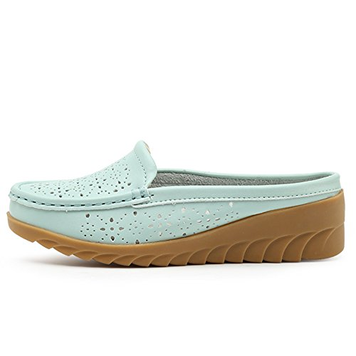 Dame 40EU Flats Sandales Léger Pantoufles Respirant Bleu Confortable décontractées véritable BETY Cuir Chaussures 34 Loafer qrOXUraw