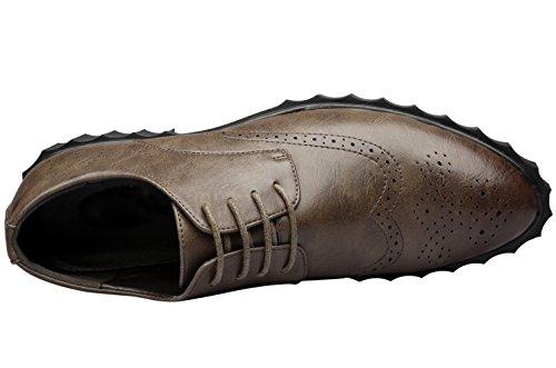 Santimon-damesschoenen Voor Heren Casual Veterpantser Met Briljantenvleugel Geperforeerde Oxford Schoenen Bruin1