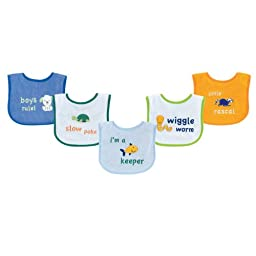 Luvable Friends Fun Sayings Bib with Peva Backing, Blue Sayings, 5 Count