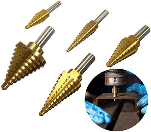 6pcs HSS Titanium Coated Step Drill Bit with Center Punch Drill Set Hole Cutter Tool Kit Set of Tools