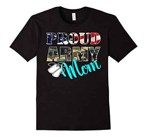 Army Mom Womens T-shirt (USA Red White - Proud Army Mom With American Flag T-shirt)