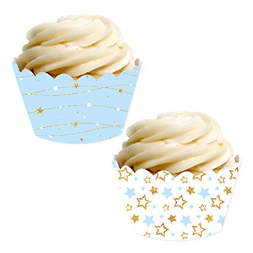 (Andaz Press Party Cupcake Wrapper Decorations, Baby Blue Twinkle Twinkle Little Star, 24-Pack, Theme Colored Bulk Cake Supplies, Boy Baby Shower 1st Birthday)