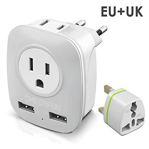 European Adapter, Europe Travel Plug Adapter for UK Ireland Italy France Germany Spain Iceland and More, International…