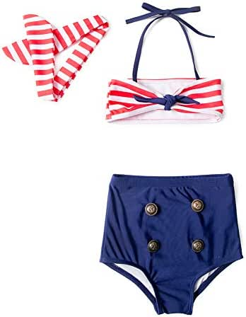 gsch Baby Girls High Waisted Swimsuit Bikini Toddler Bathing Suit Top Modern Family Mommy and Me Dresses Beach Outfits Retro Matching Baby Gifts for Newborn Girls 6-12-18-24 Months Two Pieces Sets