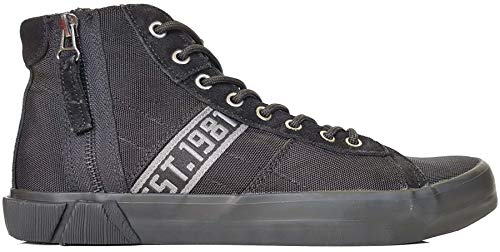 (#Replay Dock Black Mens Suede Nylon Hi Top Trainers)