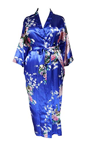 Applesauce 838 - Plus Size Women's Kimono Long Robe - Peacock and Blossom (US One-Size fits Most 1X 2X 3X) (Sapphire -