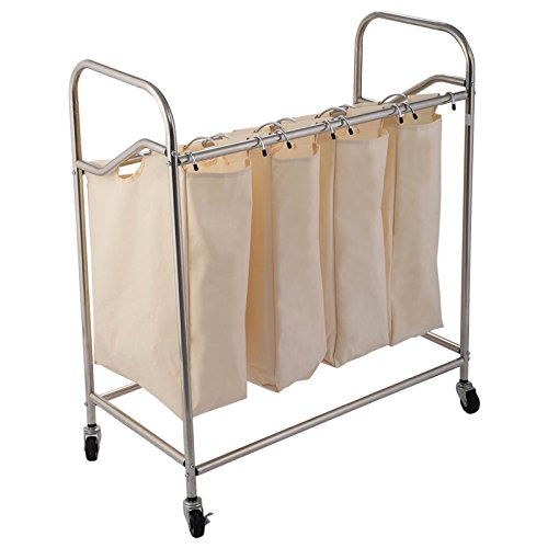 Durable Oxford Fabric 4-Bag Laundry Sorter Rolling Cart Hamper Organizer Beige 4 Wheels #569