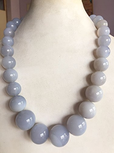 Semi Precious Chalcedony Plain Balls Necklace Size22mm=12mmRound 1 String Length 18Inches (Pearl String 18 Inch Necklace)