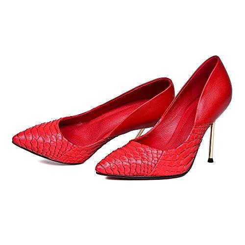 Minivog Pelle Di Serpente Stria Rosso Tacchi A Spillo Tacchi Alti Scarpe Da Donna Scarpe Rosse