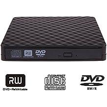 External CD DVD Drive, USB 3.0 Portable Drive,tengertang External DVD CD +/- RW Writer Burner Rewriter for Desktop Windows XP/Vista/7/8/10 Mac OSX (black)