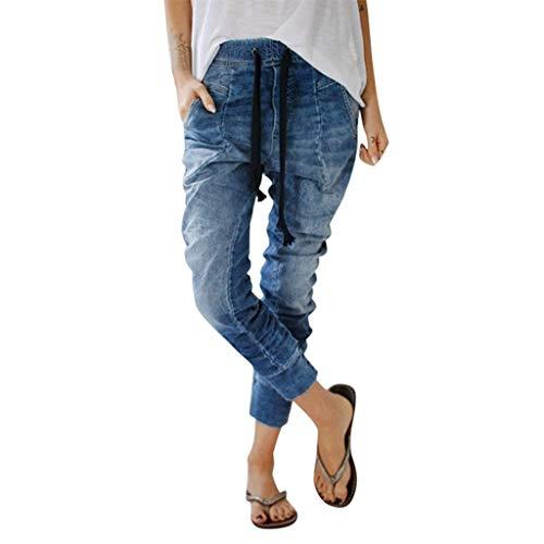 mothersdayprime SERYU Womens Drawstring Jeans Pockets Casual Denim Baggy Harem Pants Distress Trousers ()