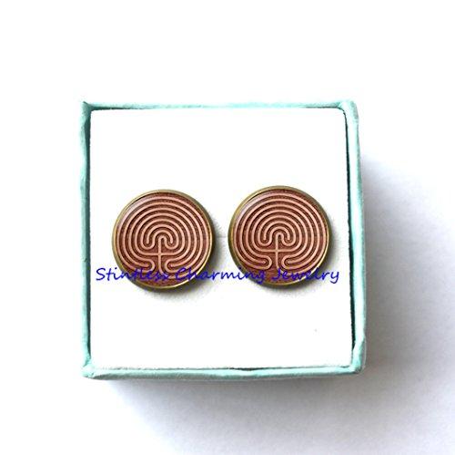 Maze Earrings,Maze Jewelry,Charm Earrings,spiritual Earrings,bridesmaid gift,picture Earrings,picture jewelry