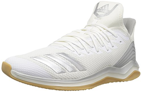 (adidas Men's Icon 4 Baseball Shoe Silver Metallic/Cloud White, 9.5 M US)