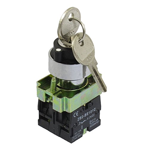 TOOGOO(R) 22mm Locking 2 NO Three 3-Position Keylock Selector Select Switch ZB2-BE101C