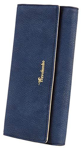 Travelambo Womens Wallet Faux Leather RFID Blocking Purse Credit Card Clutch (Blue Purplish 696)