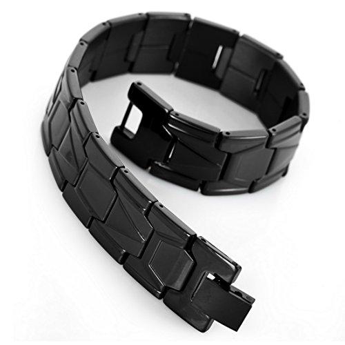 INBLUE Mens Stainless Steel Bracelet Link Wrist Black Silver Gold Tone