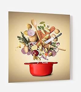 """Fondo de campana en panel compuesto aluminio para cocina listo para mesa con adhesiva """"ingrédients cocina–-3mm de espesor L. 60 x H. 70 cm"""
