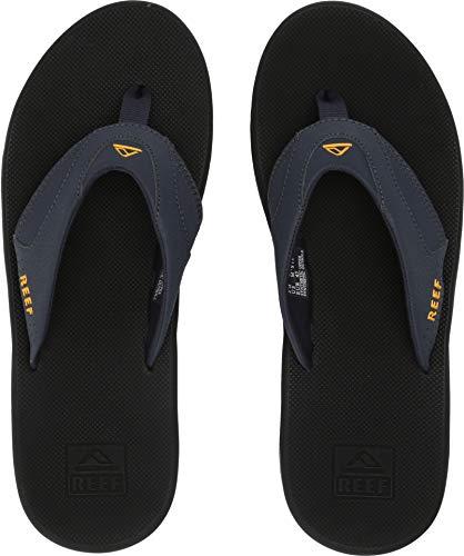 (Reef Fanning Mens Sandals Bottle Opener Flip Flops for Men,Navy/Yellow, 8 M US)