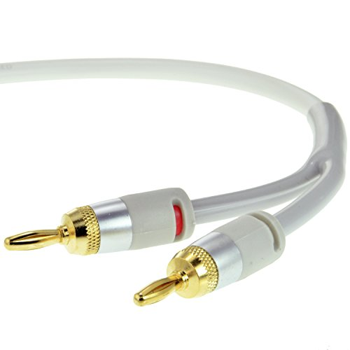 Mediabridge 16AWG ULTRA Series Speaker Cable w/ Gold Plated Banana Tips (6 FT) - CL2 - 99.9% Oxygen Free - White (SWT-06W)