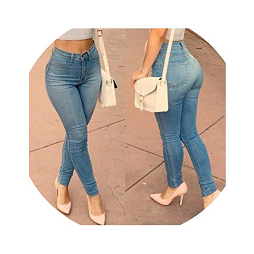 Pants Skinny Elastic Full Length Zipper Fly Middle Waist Trousers Casual Ladies Pencil Jeans,Blue,M