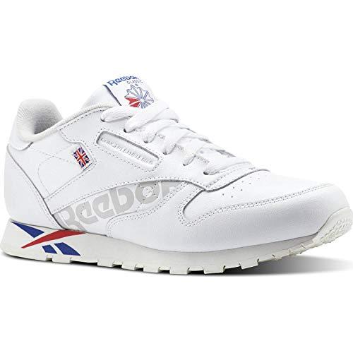 - Reebok Unisex Kids' Classic Leather Sneaker (7 Big Kid, White/Dark Royal/Red/Grey)
