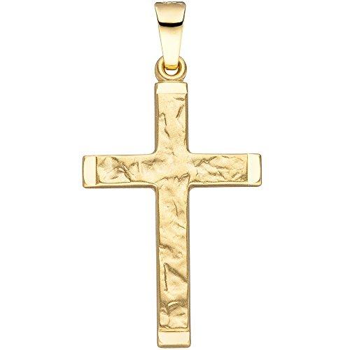 Pendentif Croix martelé 26,8x 16mm en or 585or jaune croix pendentif croix